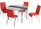 Chloe Dining Set with Clear Glass & Black Strip & Red Chairs