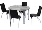 Chloe Dining Set with Clear Glass & Frosted Strip & Black Chairs