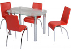 Chloe Dining Set with Clear Glass & Frosted Strip & Red Chairs
