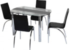 Chloe Dining Set with Clear Glass & Black Strip & Black Chairs