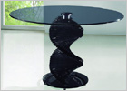 Twirl Glass Round Dining Table - Black Glass